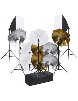 Photo studio set with lighting set and soft boxes