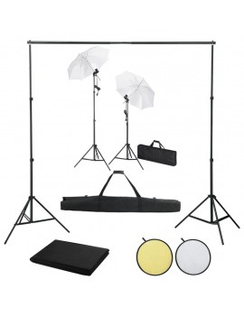 Photo studio set with backgrounds, lights and umbrellas