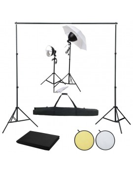 Photo studio set with light set, background and reflector