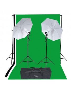 Andoer Photography Studio Portrait Product Light Lighting Tent Kit Photo Video Equipment (2 * 135W Bulb+2 * Bulb Holder+2 * Reflective Shooting-through Umbrella+3 * Backdrops+1* Backdrop stand+2 * Tripod Stands+1* Carrying Bag)