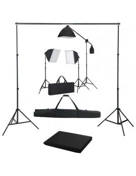 Photo studio kit with softbox spotlights and backdrop