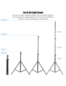 Andoer Photo Studio Continuous Umbralle Lighting Kit with 2 * 2m Light Stand + 2 * 45W 5500K Photo Lamp Bulb + 2 * 83cm Translucent White Soft Umbrella +2 * 83cm Black&Silver Umbrella + 2 * Swivel Socket