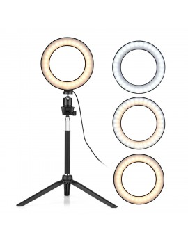 6 Inch Mini LED Ring Light Photography Lamp Dimmable 3 Lighting Modes USB Powered with Telescopic Stand Mini Desktop Tripod Ballhead for Selfie Photography