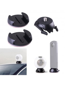 Quick Release Mount Holder Including Buckle + Flat and Curved Base Adhesive Tape for Samsung Gear 360 Camera for Ricoh Theta S/SC/M15 & Sports Action Panoramic Camera w/ 1/4