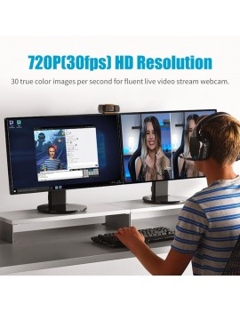 720P Webcam Live Streaming Webcam USB Web Camera for PC Laptop Wide Angle Webcam with Microphone for Video Conference Meeting Gaming Desktop Office