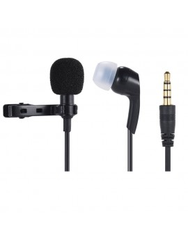 Andoer Mini Clip-on Lapel Lavalier Microphone Mic Earphone Omni-directional Condenser Hands-free 3.5mm Jack for iPhone 6/6 plus/5 iPad Smartphones Computer PC Laptop Loudspeaker Live Stream Singing