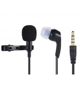 Andoer Mini Clip-on Lapel Lavalier Microphone Mic Earphone Omni-directional Condenser Hands-free 3.5mm Jack for iPhone 6/6 plus/5 iPad Smartphones Computer PC Laptop Loudspeaker Live Stream Singing