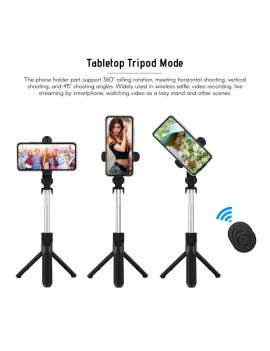 5-Section Extendable Selfie Stick Integrated Universal Phone Holder Tabletop Tripod with BT Remote Controller 10m Wireless Control for iPhone Samsung Huawei Xiaomi Phones