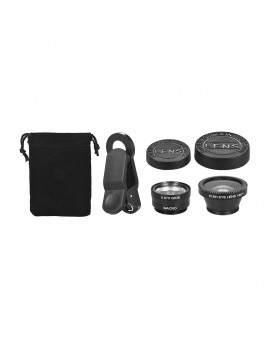 Universal Clip Lens Kit 180° Mobile Phone Fisheye Lens 0.67× Wide Angle Lens Macro Lens 3 in 1 with Clip for iPhone Samsung Huawei Smartphone Lens Mobile Photography Accessories